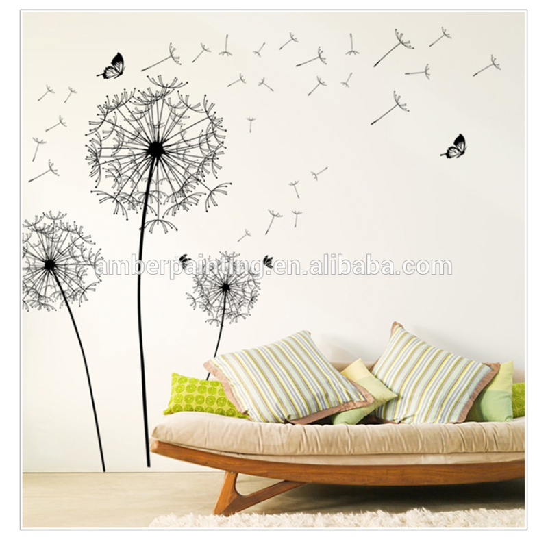 Home or office white dandelion wall stickers baby removable wall stickers