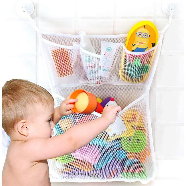 amazon top seller mesh bags Quick Dry Bathtub Mesh Net Massive Baby Toy Storage Holder Bath Toy Organizer With Sticker Hooks