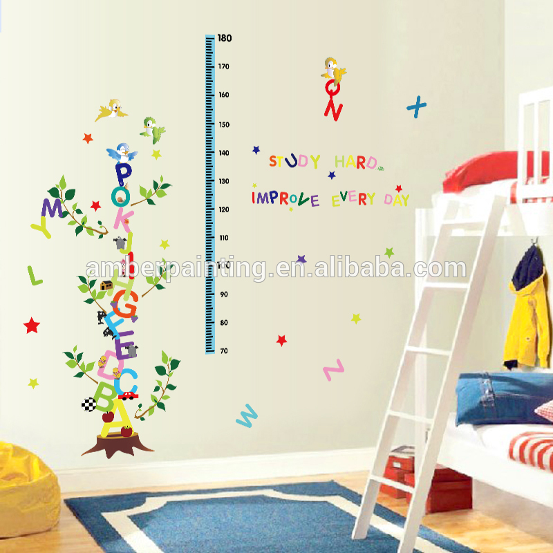 Kids growth chart stickers bed room wall decals alphabet