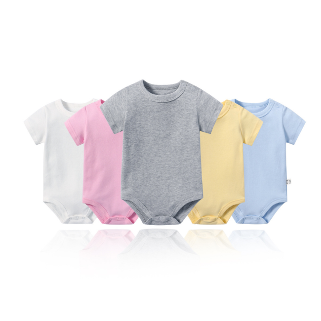 OEM service manufacture baby newborn clothes onesie white 100% cotton custom printed plain baby romper dresses
