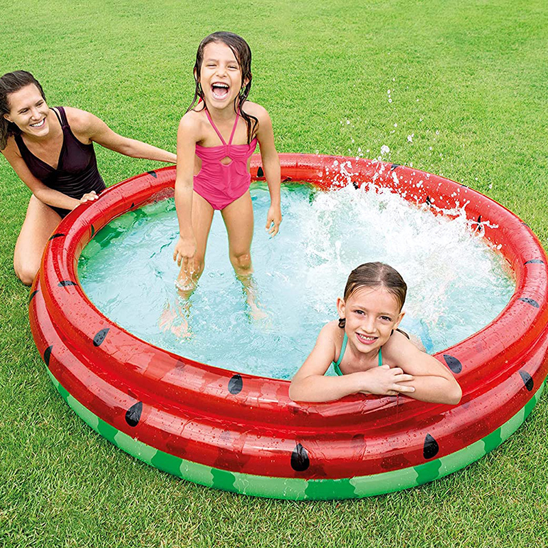 Foldable Inflatable water Round Inflatable Outdoor Kids splash play mat Swimming and Wading Watermelon Pool