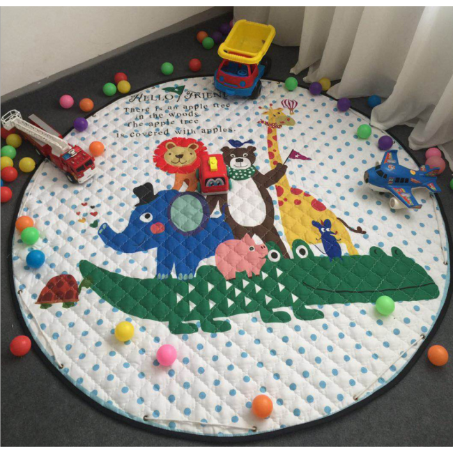 Wholesale Thicken kids cartoon animals play mat toy storage bag slideaway organizer basket and play mat in stock