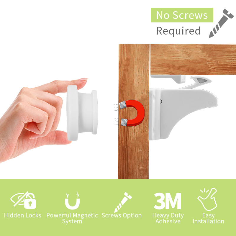 High quality magnetic cabinet door safety lock adjustable baby safety locks  magnetic cupboard locks