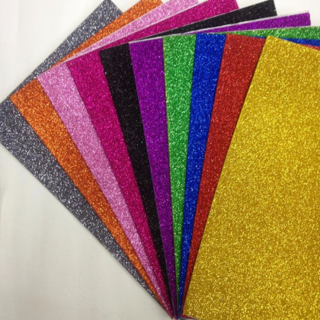 Colored self adhesive glitter eva foam sheet
