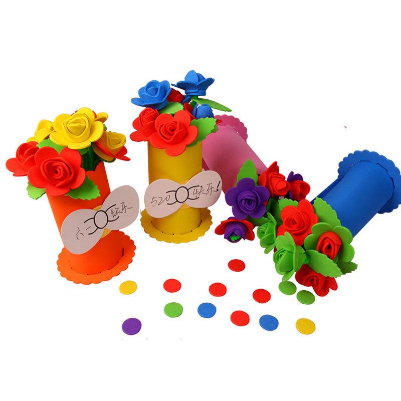 3D DIY Flower and Flowerpot EVA Foam Children Kids Crafts Handmade Toy