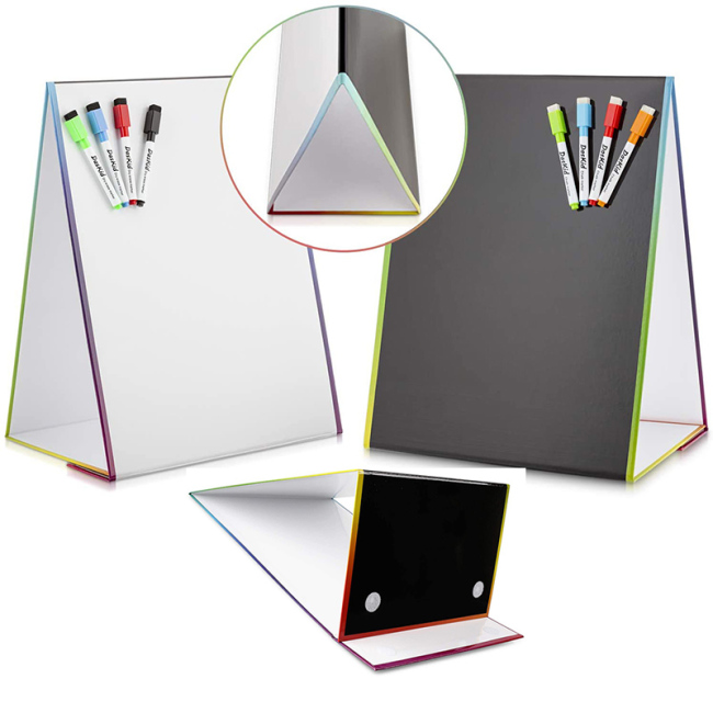 Custom black mini desktop dry erase board whiteboard marker with magnet white board with stand