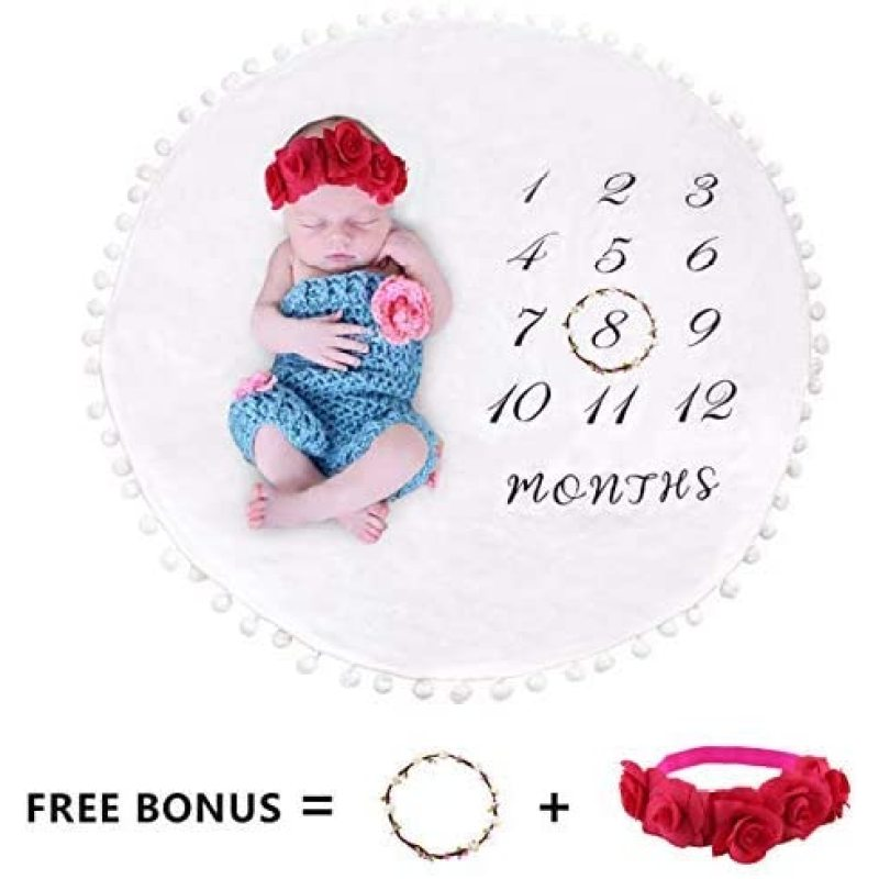 Double Layer Pom Ball Thick Flannel Round Rug Backdrop Baby Photography Props Milestone Blanket