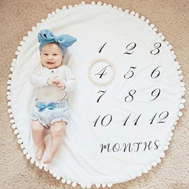 Custom high quality Baby Super Soft Fleece Milestone Blanket baby milestone blanket muslin