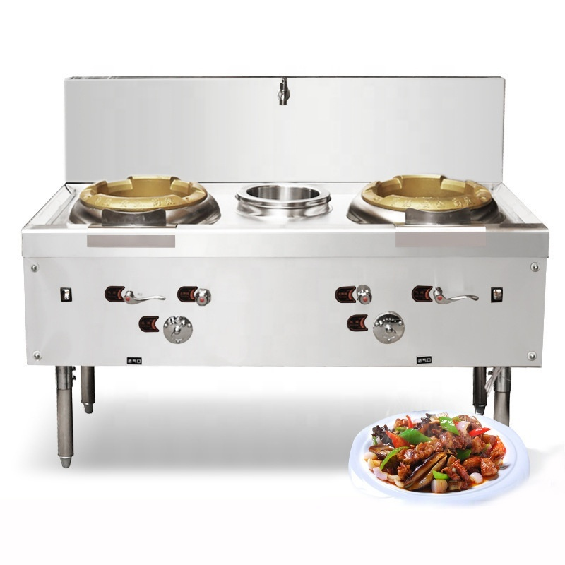 Vertical Gas Commercial 2 cooktop wok Burner Stove Cooking Range Multifunction Cooker with fan