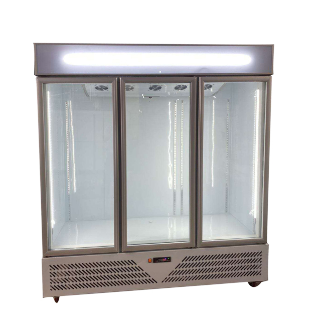 1880mm White / Black 3 Glass Door Commercial Glass Fridge Vertical Chiller Refrigerator Display Drink Showcase fan cooling