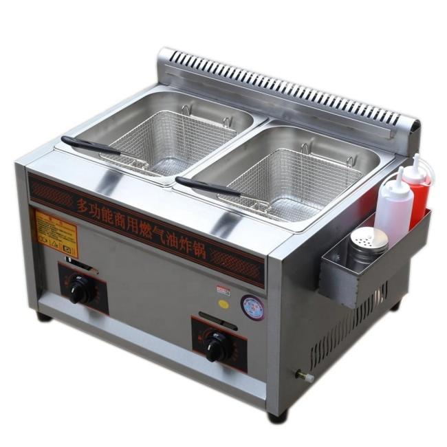 10L *2 Tank  LPG Gas Open Fryer Potato French fryer Machine with 1 Safety Valve