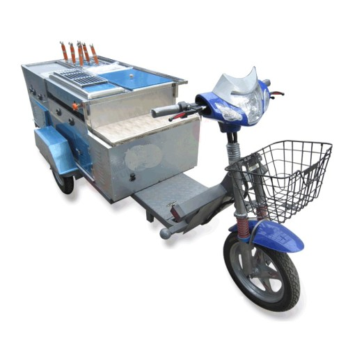 Multi-Functional 5 in 1 Gas Deep Fryer Noodle Boiler Chocolate Fountain Snack Tricycle Mobile Food Trailer Food Trucks