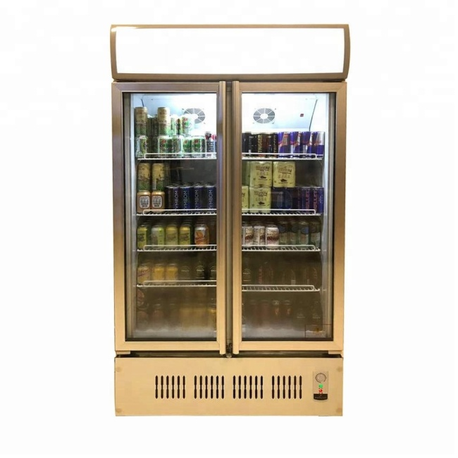 Black White Commercial Glass Fridge 2 Glass Door Vertical Chiller Refrigerator Display Drink Showcase