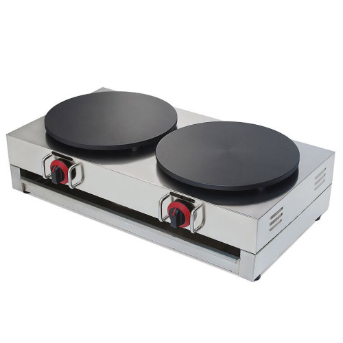 High Efficiency Desktop LPG Gas 2 Head Gas Crepe Maker Pancake Baking Machine
