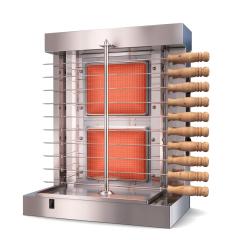 Vertical Broiler - Automatic 2 Burners Machine with 10 Side Kebab Skewers Doner Kebab Shawarma Gas Burner Grill