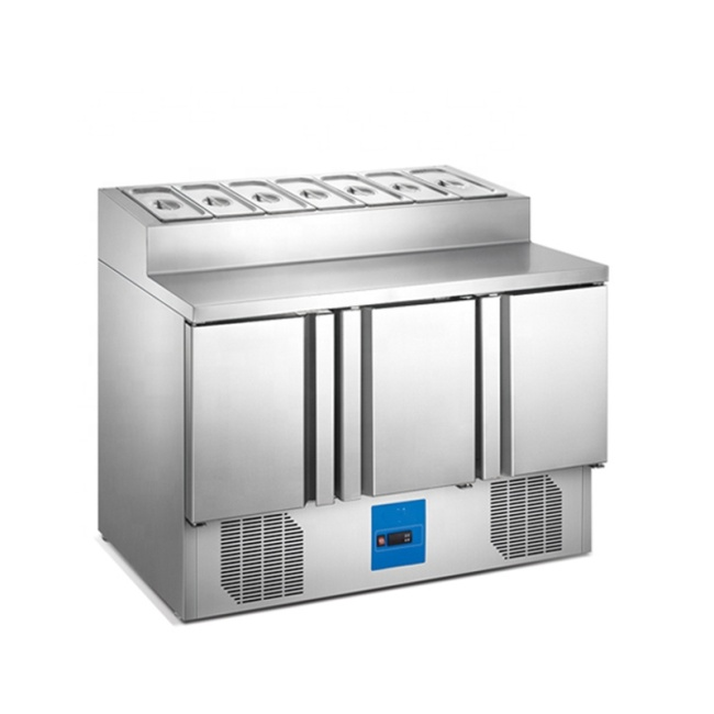 Stainless Steel Pizza Prep Table Fruit Fresh-Keeping Refrigerator Stainless Steel Sandwich Prep Cooler