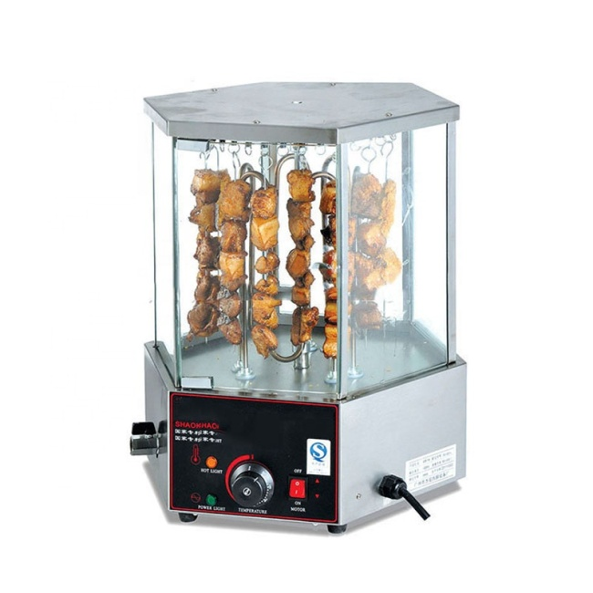 16pcs/Time Electric Corn Roaster Stainless Steel Base with 6 Glass Doors Rotary Corn Broiler Roaster