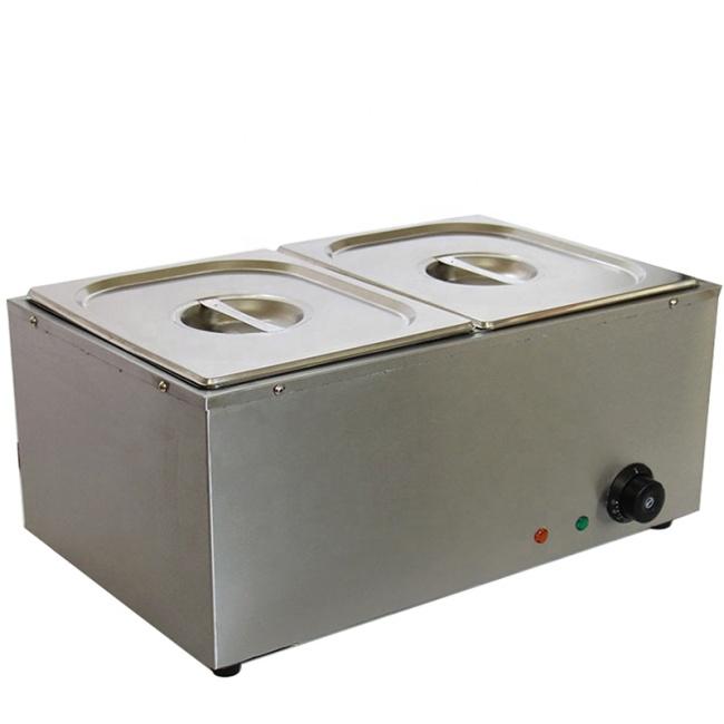 4 BOILER Electric Heating Food Warmer Table Top 4 Pan Stainless Steel Bain Marie
