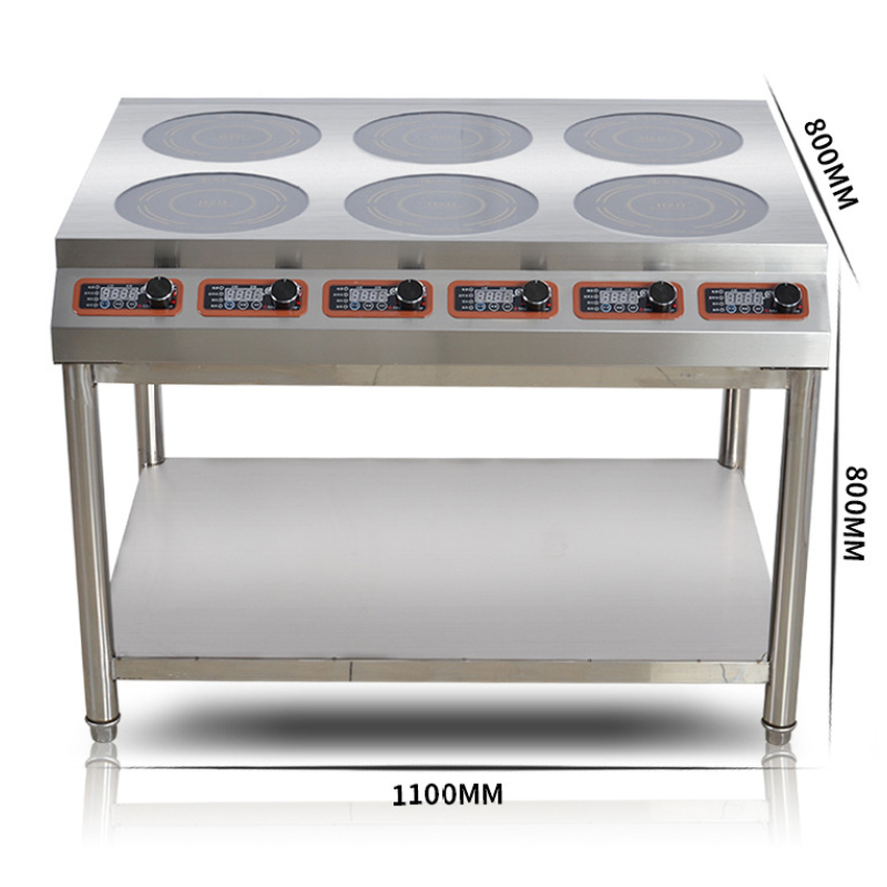 6*3.5kw Crystal Glass Stainless Power Cable Timer Induction  Cooker Commercial Restaurant Cooking top Burner Cookstove
