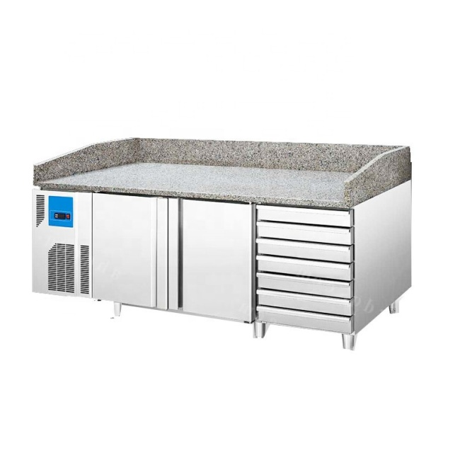 OEM Refrigerated Cabinet With Baking Tray Marble Top Bench Various Styles Baking Refrigerator Work Table
