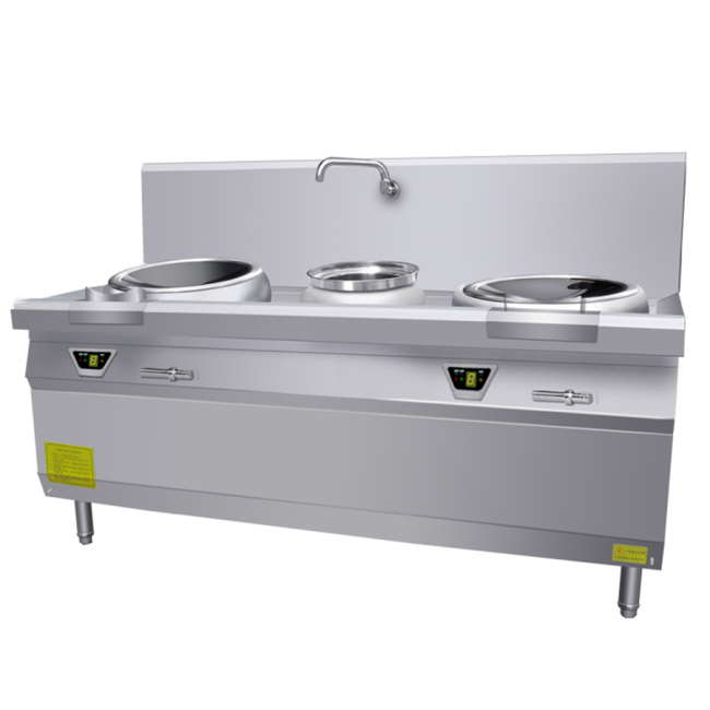 12kw Heavy Duty SS 2 Burner Double Magnetic large Commercial Induction Cooker Restaurant Round Wok Burner Range