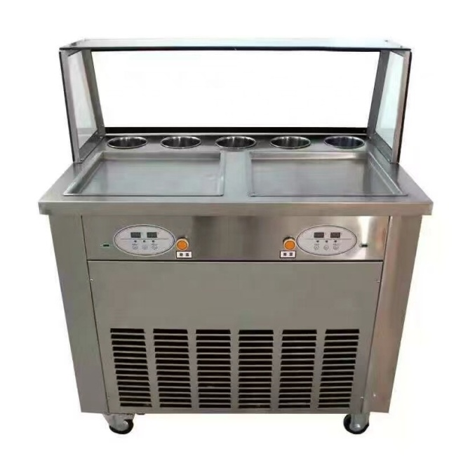 2 Pan Computer Control Pan Roller Rolling Rolled Flat Fried Ice Fryer Cream Machine