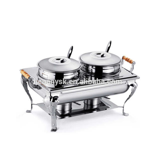 IS-GS-0182B Stainless Steel Buffet Furnace Doub-Soup Stove, Electric or Alcohol Heating Cooking Furnace