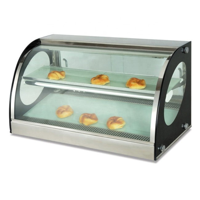 Desktop Arc Heating and Warming Display Cabinet Small Warmer Display Food Warmer Glass Display Showcase