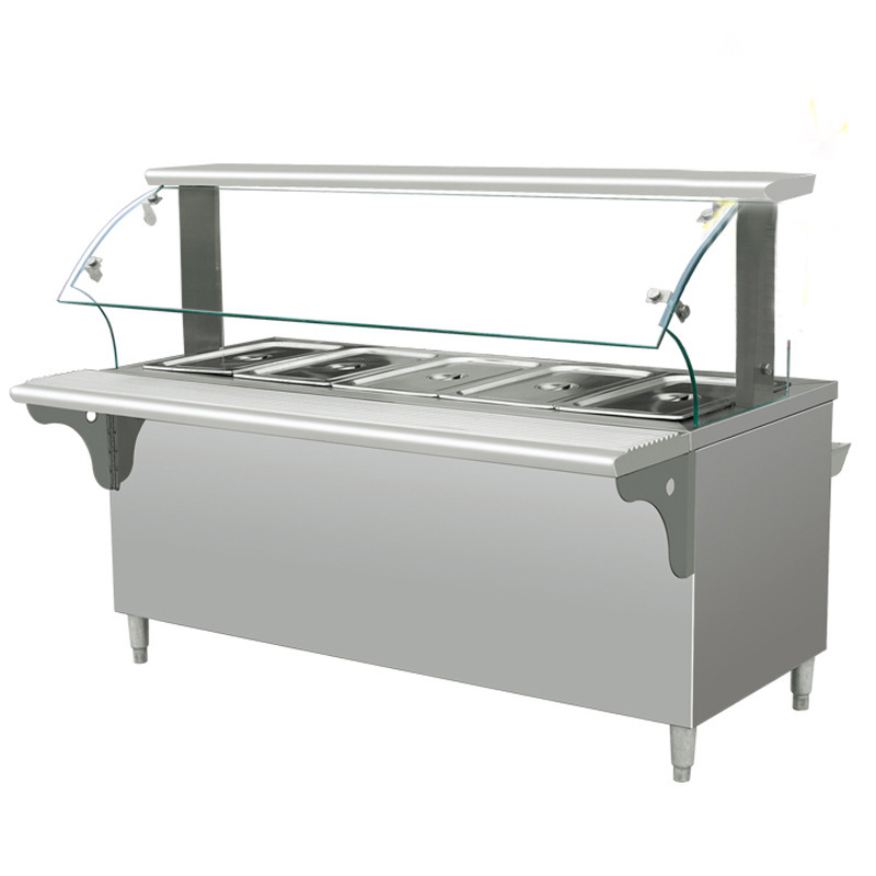 Electric Bain Marie 201Stainless Steel  Customized 6 pans 1/1x150 GN pans with lids Compartment Sinks