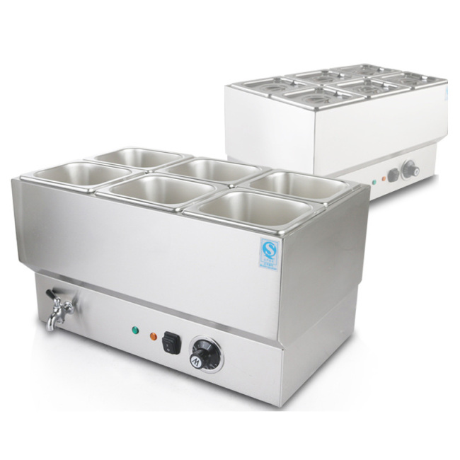 Commercial Stainless Steel Electric Soup Heater Pot Six Pots Keep Warm in Fast-Food & Restaurants