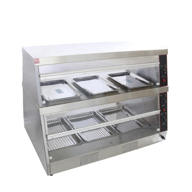 DH-2*3 Hot Display Showcase Electric Food Warmer Stainless Steel Display Showcase With 2 Shelves
