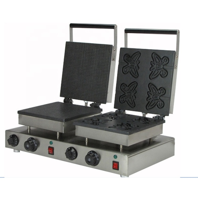 Waffle Iron 201 Stainless Steel Butterfly Waffle Maker Non-Stick Cooking Surface Feature Waffle Snack Machine