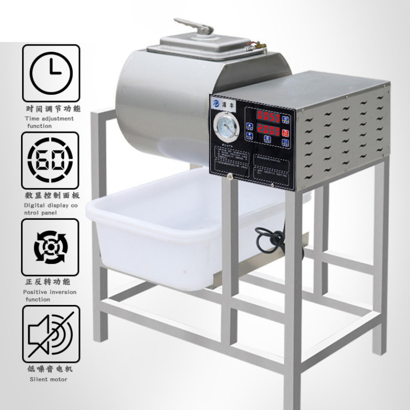 18L 35L 80L Stainless  SteelTable Top Marinated Meat Salting Marinator Meat Tumbler Vacuum Marinade Mixer Machine For Sale