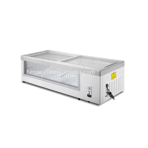 Horizontal Single-Temperature Freezers For Fish Refrigerated Display Cabinets Full Sliding Glass Freezer
