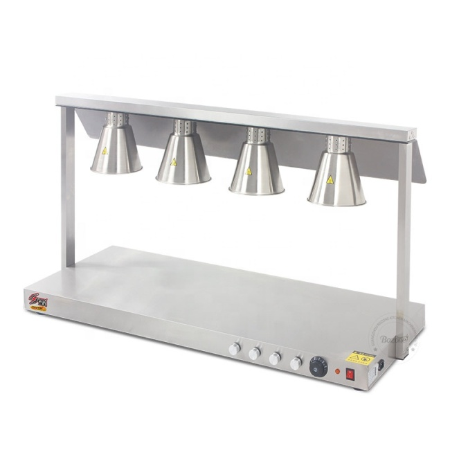 Stainless Steel Body 4 Head Food Warmer Lamp Luxurious Buffet Heating Lamps Kitchen Food Station