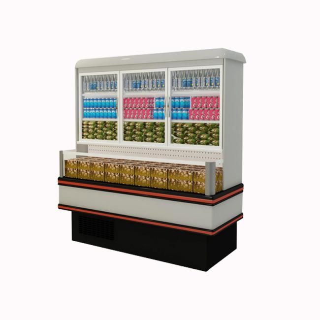 upper refrigerator bottom freezer Supermarket Vegetable Showcase cooler Fan Cooling Fridge For Drinks Vegetables