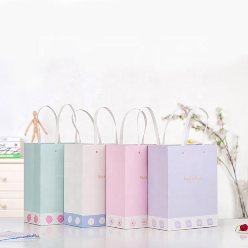 Custom print color lining shopping kraft gift paper bag