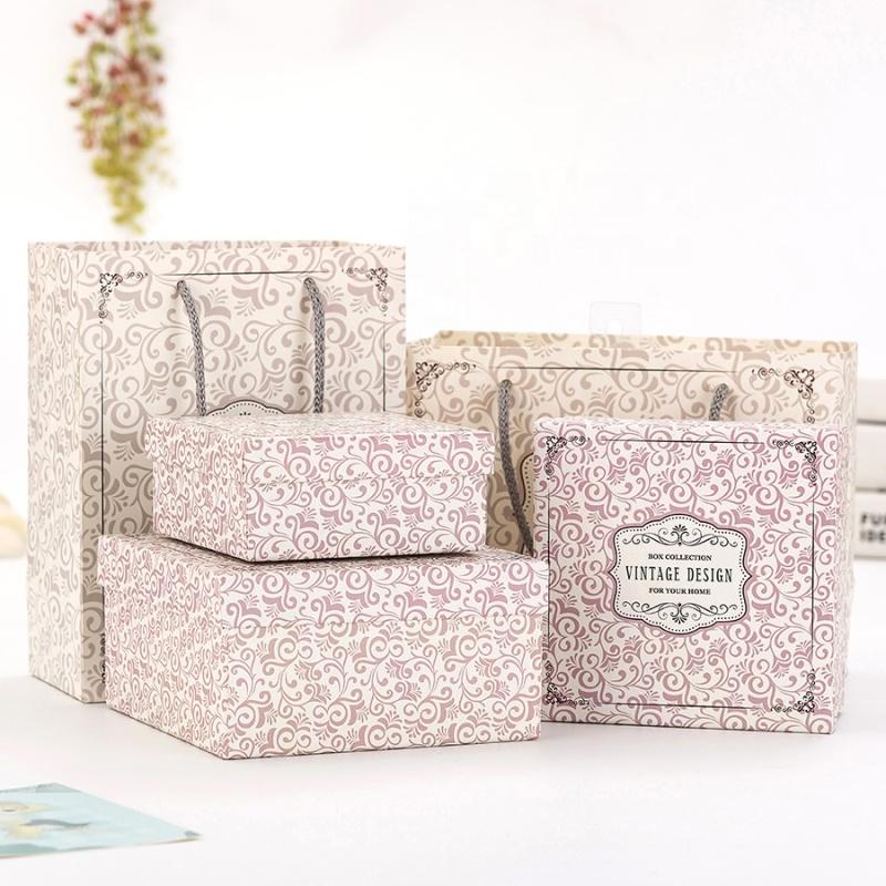 Custom paper shopping bag paper packaging box set