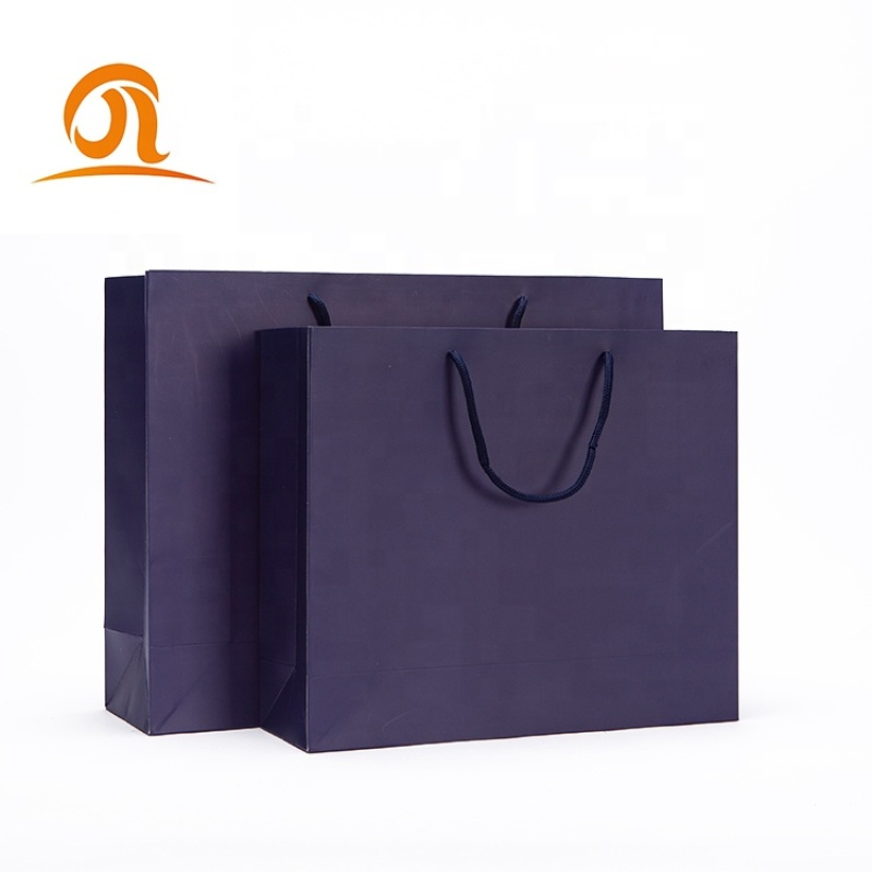 Ready made european luxury wide base paper bag for dress t-shirt packaging