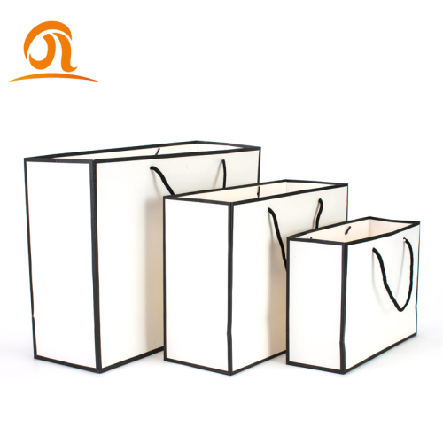 Customized Fashion Print LOGO Size Gift Shopping White Paper Bag For Packaging Clothes