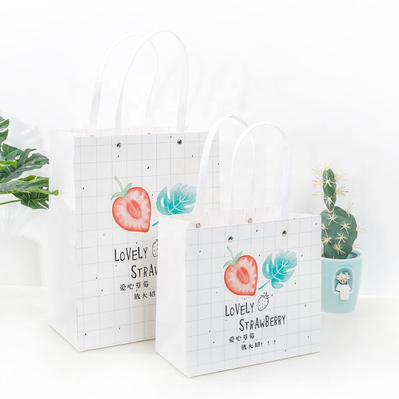 Multiple size hard paper white pink gift bag packaging