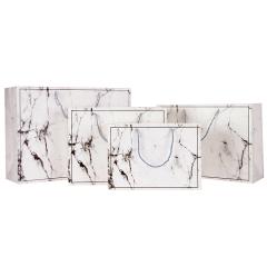 Großhandelslogo-Verpackungsmuster benutzerdefiniertes kreatives Marmormuster Weihnachtstragbare Papiertüte