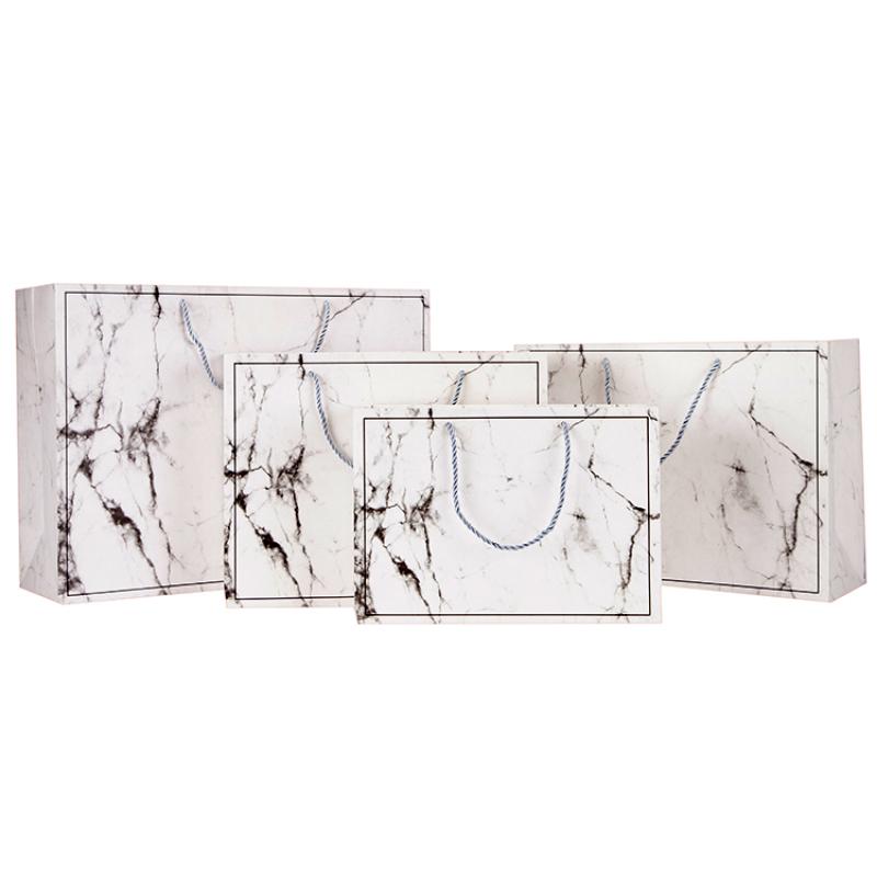 Wholesale logo packaging pattern custom creative marble pattern Christmas portable paper bag