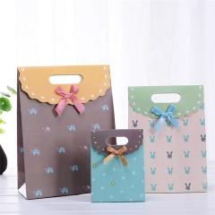 Custom Bow Tie Birthday Small Gift Bag Portable Paper Shopping Bag With Ribbon For Wedding  Bolsa de papel de la boda