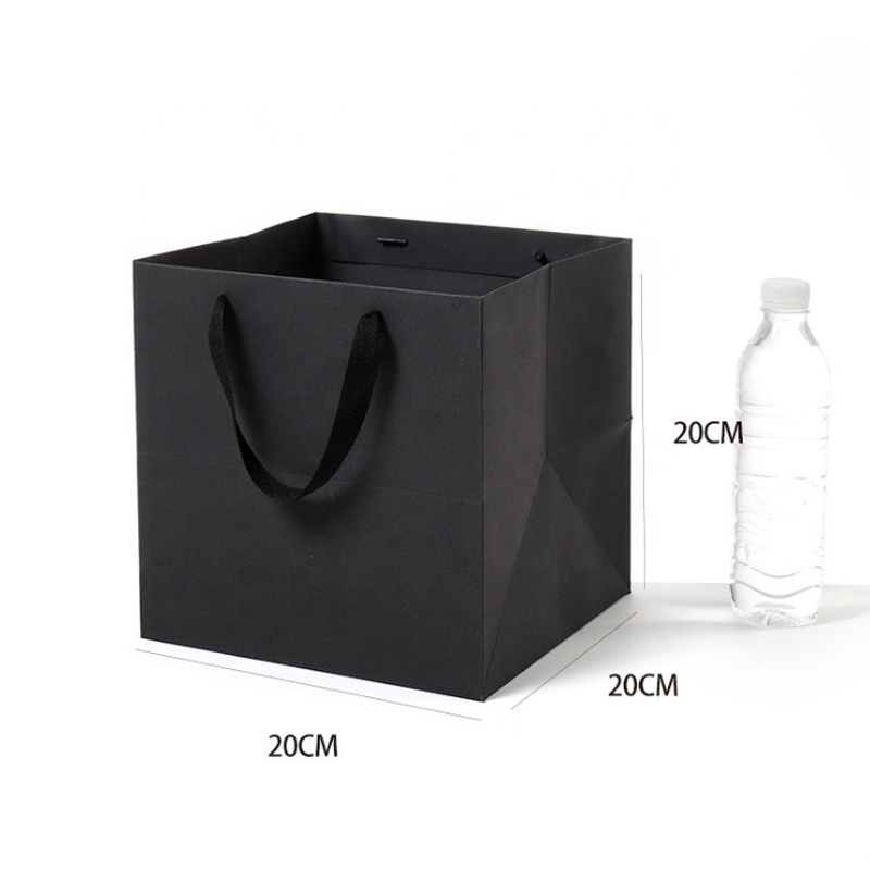 20*20*20cm Gift Square Black Blank Paper Packing Bags