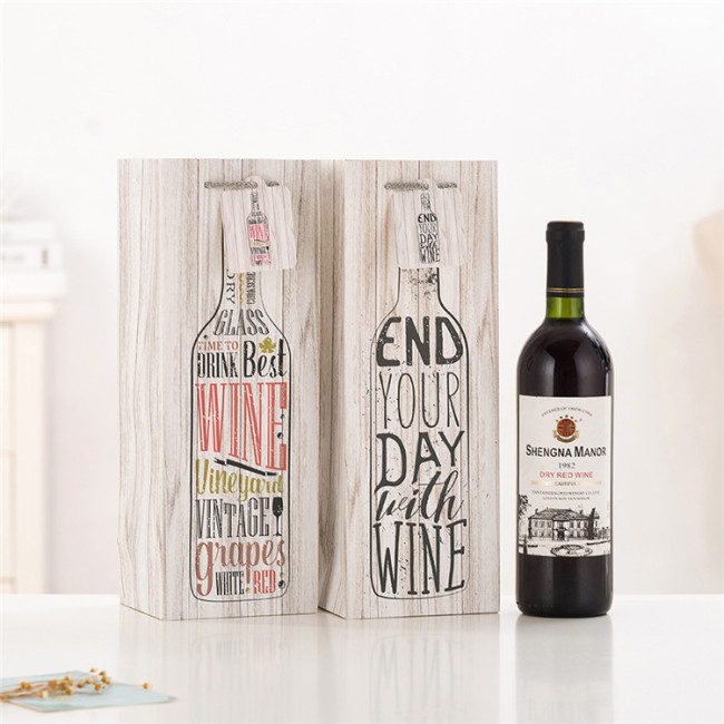 Customized Lining Shopping Wine Bottle Paper Bag For Wine With Handle Bolsa De Papel Con Vino