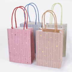 Custom logo hot stamping glitter shopping kraft paper gift bag