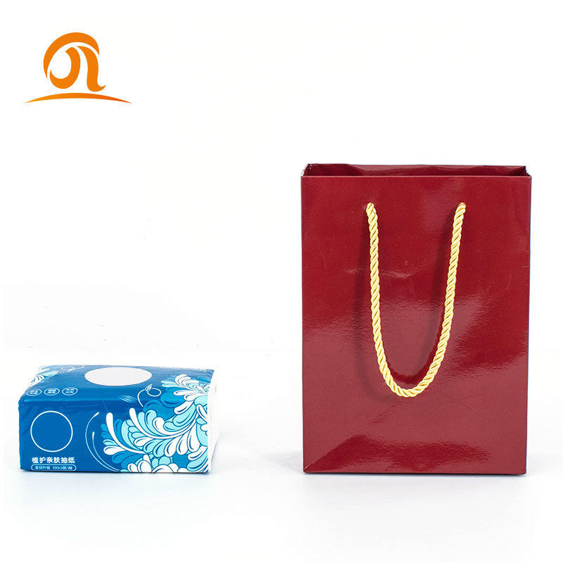 Customize Logo Printed Red Handle Luxury Large Shopping Coated Paper Bags Gift Hair Extension Clothing Packaging