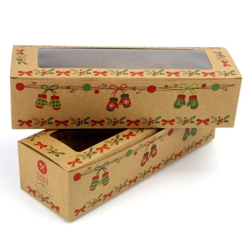 Customized personalization Rectangle Biscuits Pastry Box Fancy Holiday Dessert Loaf Boxes for Donuts