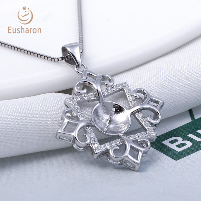 Vintage Diamond Clover Sterling Silver Pearl Mount Pendant